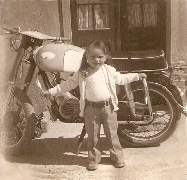 Girls love bikes! Little Ana at three years of age.