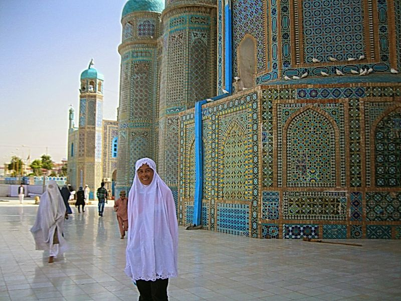 Anita Yusof outside the Saidina Ali Mosque in Afghanistan