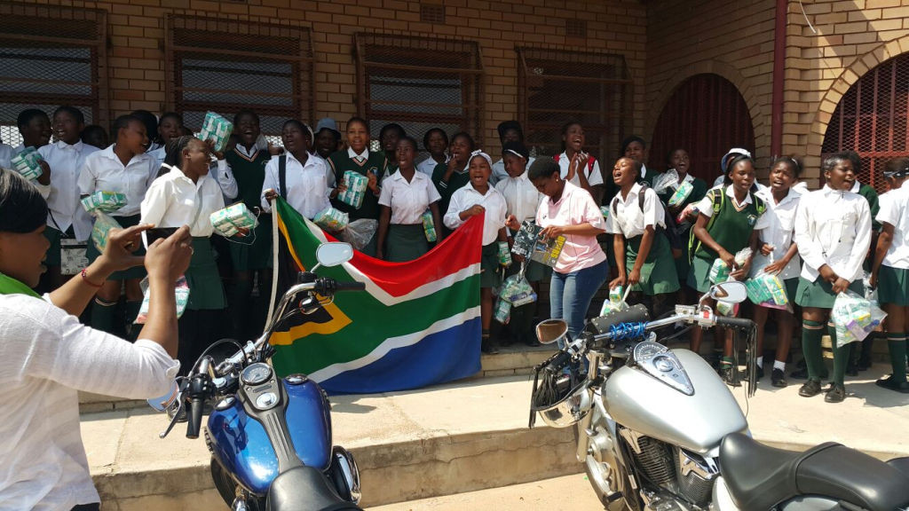 Charity event at a local school where we donated sanitary towels to poor students