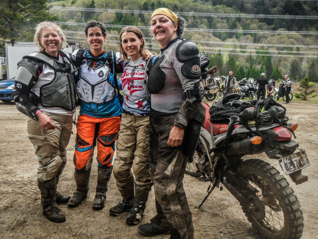 Women Who Ride: ChantalCournoyer with friends Véronique Dion, Claudia Riverin and Sylvianne Chartrand doing an offroad ride with over 200 riders