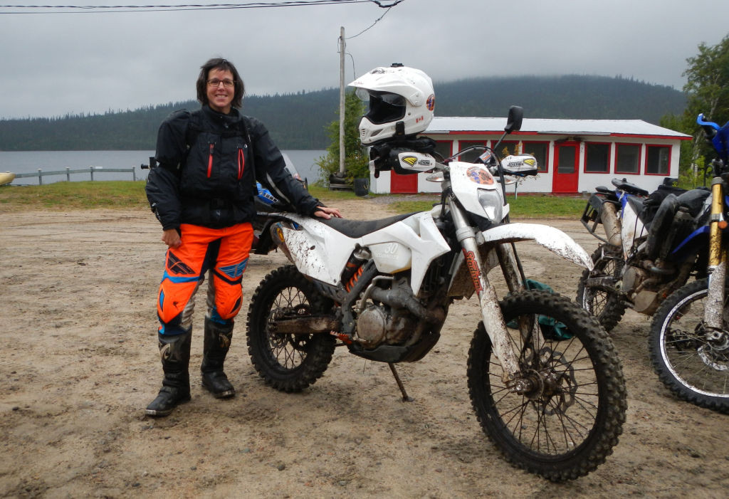 Canadian motorcyclist Chantal Cournoyer at the Orande Crush enduro rally with her KTM 350 EXC