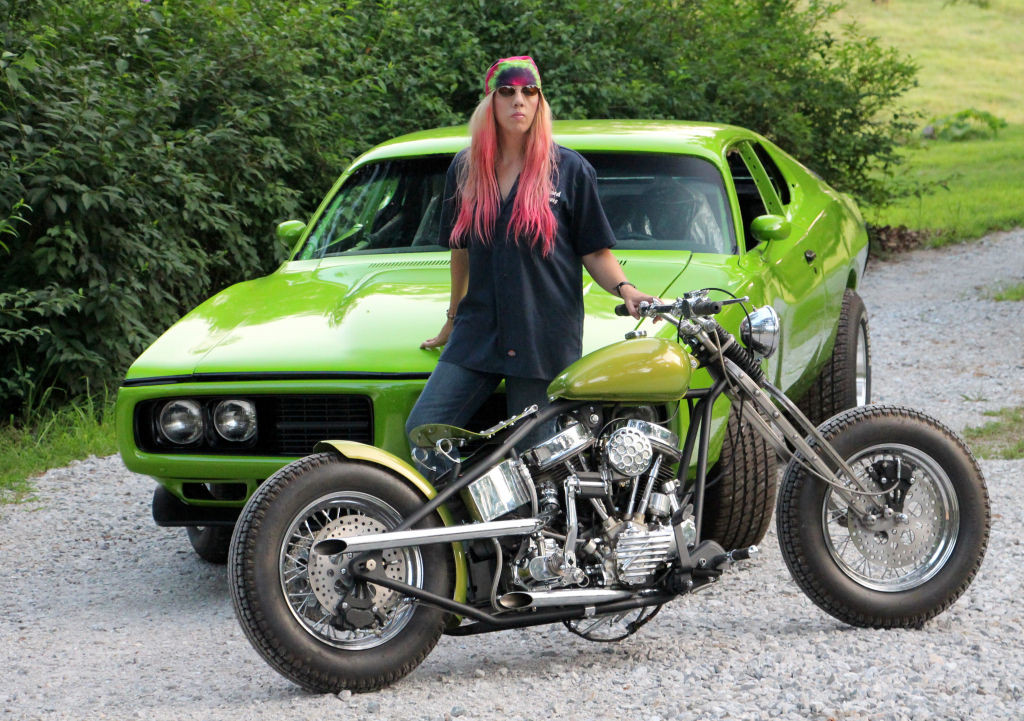 Women Who Ride: Chris Gibbany with her 1956 Harley Panhead and 1974 Dodge Charger