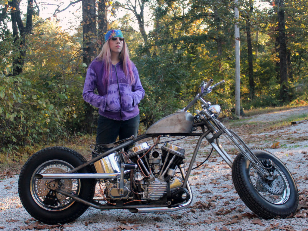 Women Who Ride: Chris Gibbany with her 1956 Harley Panhead in its raw form