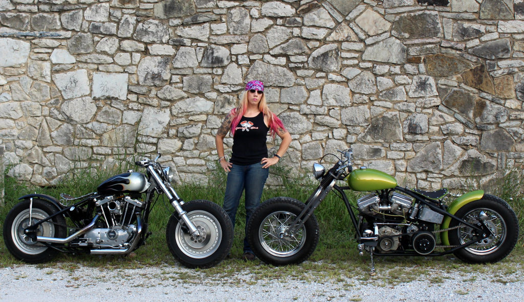 Women Who Ride: Chris Gibbany with her 1981 Harley Ironhead and 1956 Harley Panhead