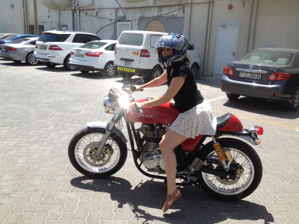 Women Who Ride: Fatima Ropero trying out a Royal Enfield in Dubai