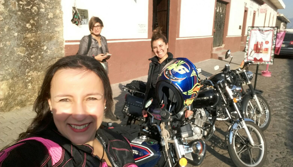 Women Who Ride: Gaby and her friends Lynda and Bárbara in downtown Tepoztlán