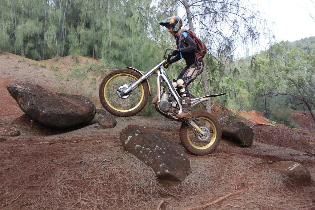 Women Who Ride: Glennel Warren riding on some technical trails in Hawaii