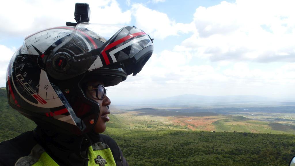 Wamuyu Ndarathi looking out at the Escarpment