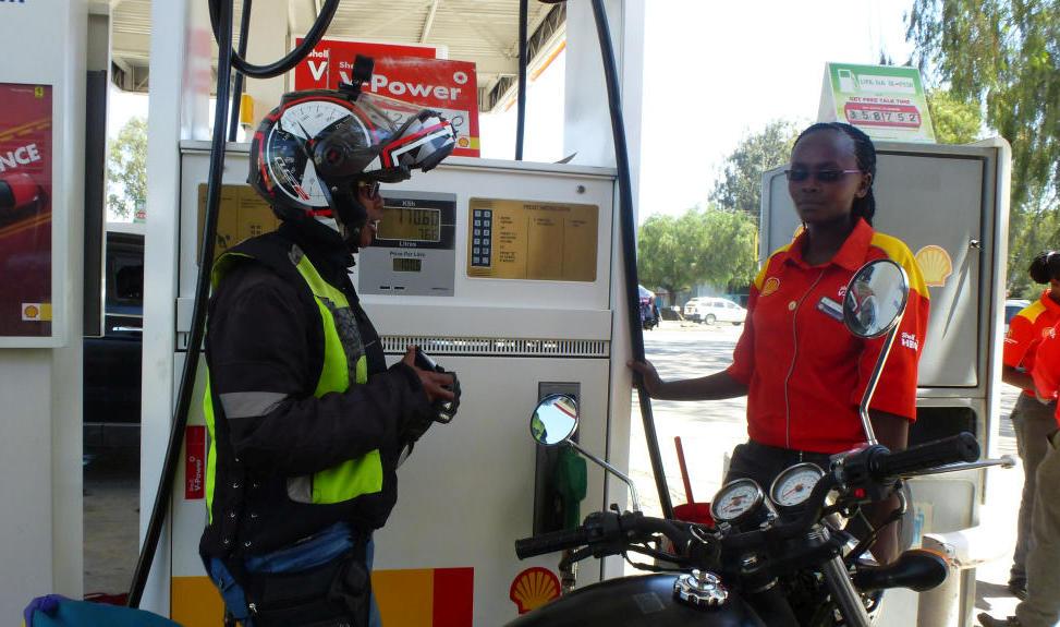Wamuyu Ndarathi stopped at a gas station