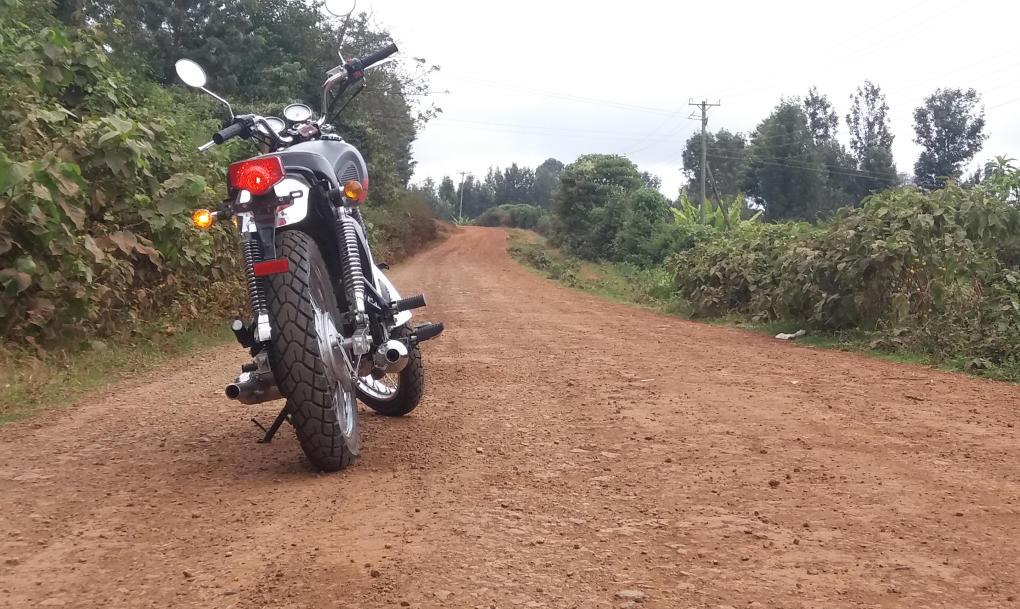 Riding on a dirt road in Kenya
