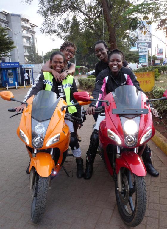 Women motorcyclists in Kenya