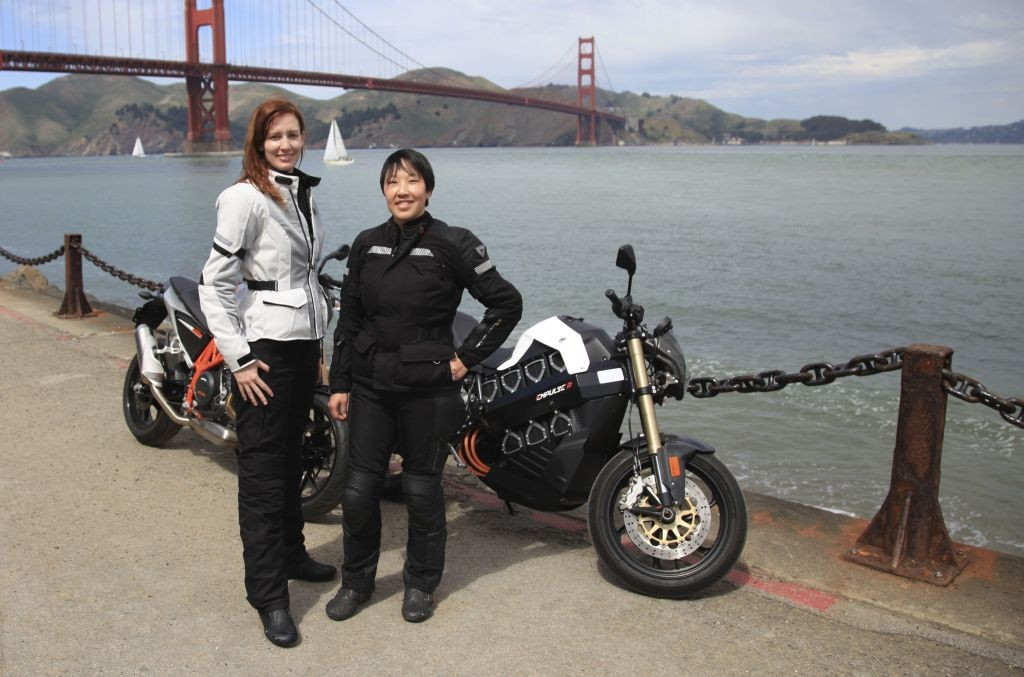 Joanne Donn and Cristi Farrell in front of the Golden Gate Bridge in San Francisco