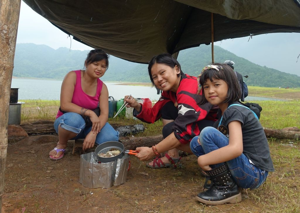 Women Who Ride: Juvena Huang camping at Umian Lake, Meghalaya, India