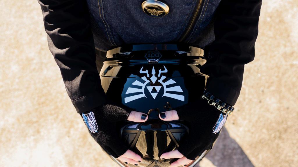 Khadijah's helmet with customized Legend of Zelda decal