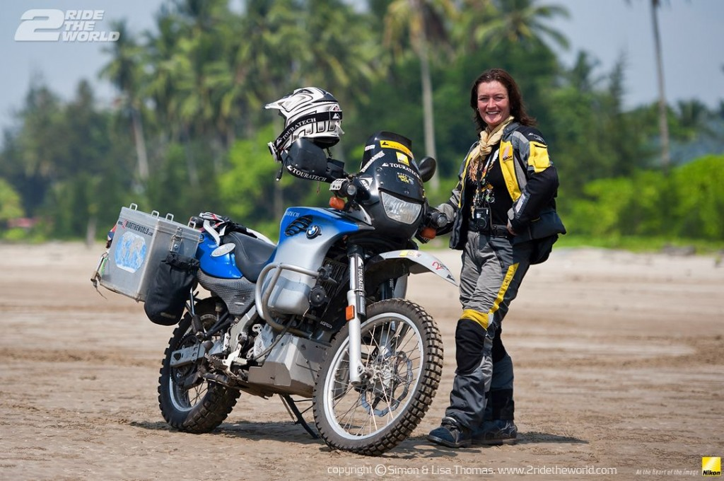 Women Who Ride: Lisa Thomas on a beach in Borneo