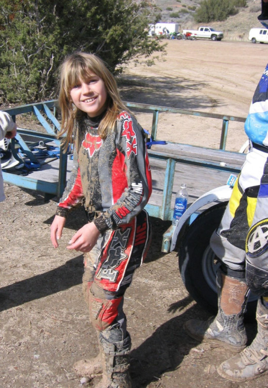 Women Who Ride: Leah Van Holten after riding through the mud. 10 years old and ready for more.