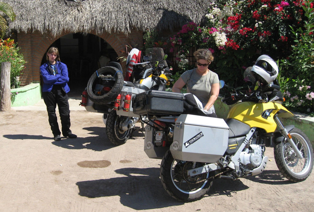 Women Who Ride: Luanna and Leah Van Holten outside a roadside café on the pacific coast of Mexico