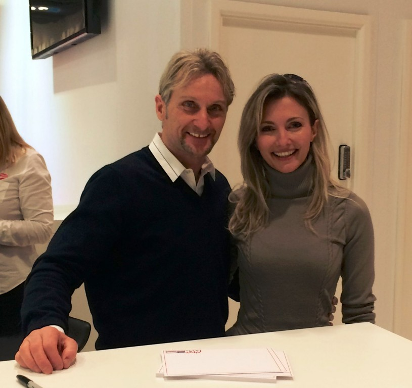 Women Who Ride: Maria Dalla Colla with Carl Fogarty at the MCN Motorcycle Show