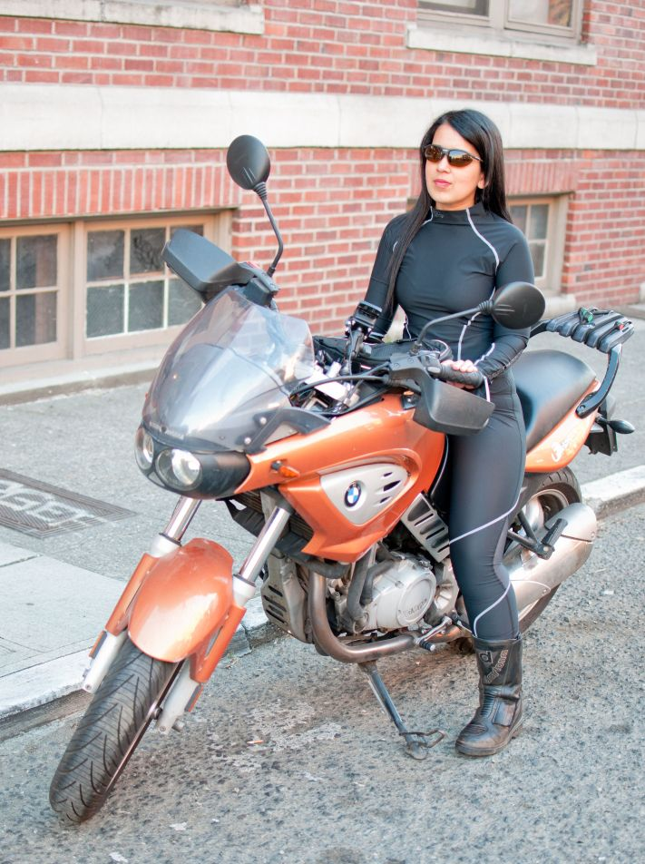 Rashmi Tambe modeling VNM Sport Gear for American Motorcyclist (Photo credit: Lucia Sanchez)