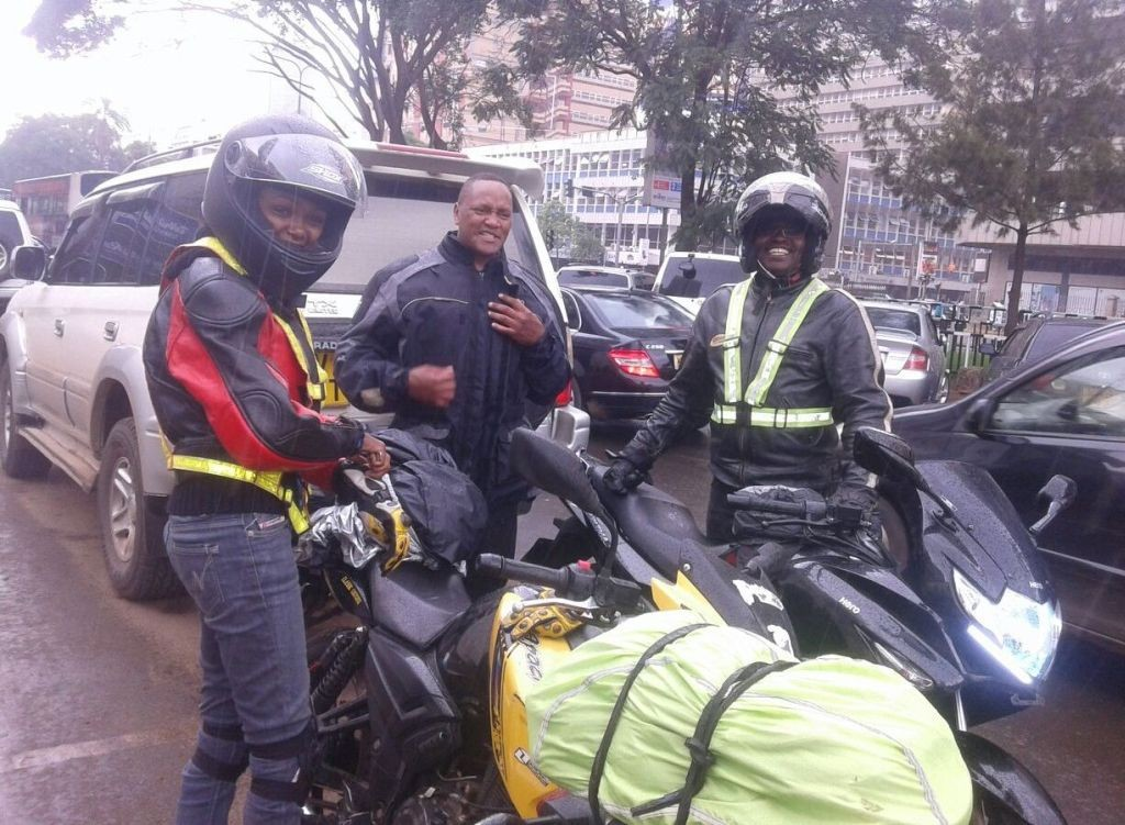 Some guys escorting us out of town during the Narok ride