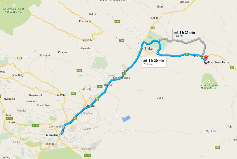 Riding to Fourteen Falls from Nairobi