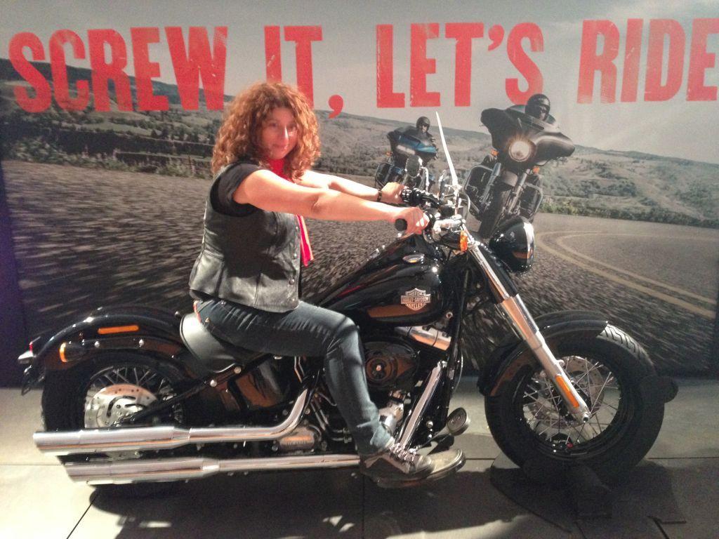 Violeta on a Harley Davidson Softail Slim - one of her dream bikes